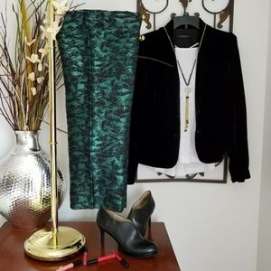 NEW J.CREW Green & Black Metalic Ankle Pant 4